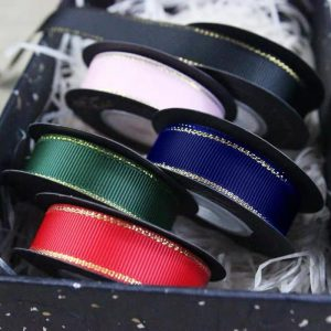 Grosgrain with gold edge ribbon