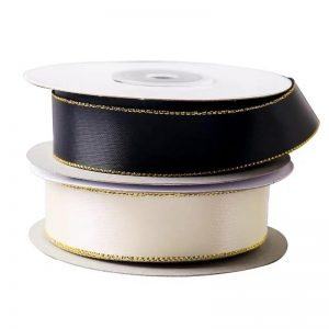 Satin ribbon with gold edge