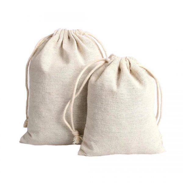 Natural Canvas Drawstring Pouch